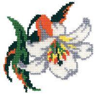 """Вышивка крестом """"Лилия белая"""" (140x140 мм)"""