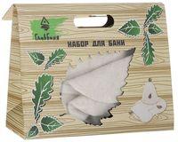 """Подарочный набор для сауны """"Шапка, рукавица, коврик"""" (белый)"""