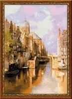 """Вышивка крестом """"И. Клинкенберг. Амстердам. Канал Аудезейтс Форбургвал"""" (400х600 мм)"""