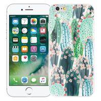 """Чехол для iPhone 6 """"Цветущие кактусы"""" (зелёный)"""