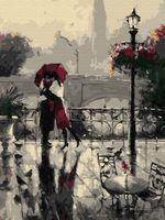 """Картина по номерам """"Влюблённые под дождем"""" (300х400 мм)"""