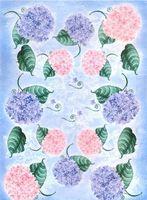 "Бумага для декупажа рисовая ""Гортензии на голубом фоне"" (290х210 мм)"