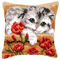"Вышивка крестом ""Подушка. Кошка в цветах"" (400х400 мм; арт. 0145175-PN)"