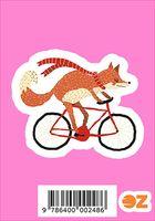 "Глянцевая наклейка ""Лиса на велосипеде"" (арт. 248)"