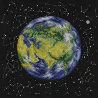 """Вышивка крестом """"Планета Земля. Евразия"""" (365х365 мм)"""