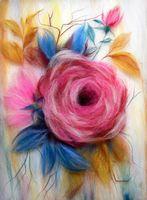 """Картина из шерсти """"Роза"""""""