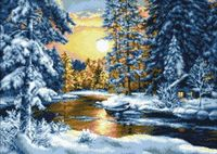 "Алмазная вышивка-мозаика ""Зимний вечер"" (530х380 мм)"