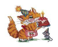 """Вышивка крестом """"Рыжий кот. День Рождения"""""""