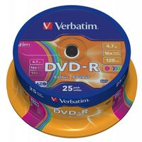 Диск DVD-R 4.7Gb 16x Verbatim Color Cake box 25