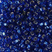Бисер прозрачный с серебристым центром №67300 (синий)