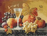 """Вышивка крестом """"Натюрморт с вином и фруктами"""""""
