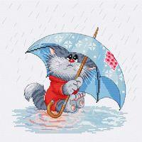 """Вышивка крестом """"Кошарик под дождем"""""""