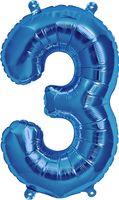 """Воздушный шар """"Цифра 3"""" (синий)"""