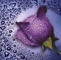 """Алмазная вышивка-мозаика """"Сиреневая роза"""" (250х250 мм)"""