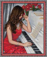 "Алмазная вышивка-мозаика ""Пианистка"" (400х500 мм)"