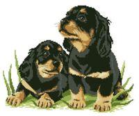 """Канва с нанесенным рисунком """"Два щенка"""" (арт. А-1474)"""