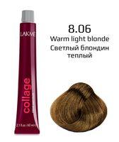 """Крем-краска для волос """"Collage Creme Hair Color"""" (тон: 8/06, светлый блондин теплый)"""