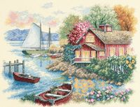 """Вышивка крестом """"Спокойный дом у озера"""" (360х280 мм)"""