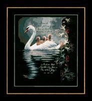 """Вышивка крестом """"Лебедь с лебедятами"""" (330х370 мм)"""