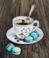 """Алмазная вышивка-мозаика """"Макаруны к кофе"""""""