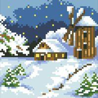 """Алмазная вышивка-мозаика """"Домик в снегу"""""""