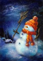 "Картина из шерсти ""Снеговик"""