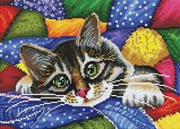 """Алмазная вышивка-мозаика """"Котик в лоскутках"""" (300х400 мм)"""