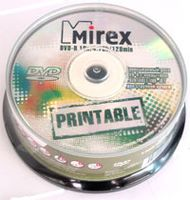 Диск DVD-R 4.7Gb 16x Mirex Printable CakeBox 25