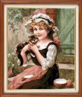 """Вышивка крестом """"Девочка с котёнком"""" (310х370 мм)"""