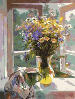 "Картина по номерам ""Букет у окна"" (400x500 мм)"