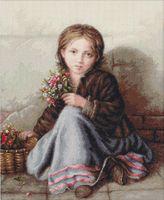 """Вышивка крестом """"Девочка с цветами"""" (330х425 мм)"""