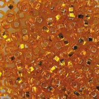 Бисер прозрачный с серебристым центром №87060 (рыжий; 10/0)