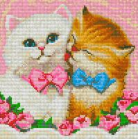 "Алмазная вышивка-мозаика ""Кот и кошка"" (250х250 мм)"