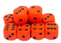 """Набор кубиков D6 """"Опак"""" (12 мм; 12 шт.; оранжево-черный)"""
