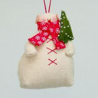 """Кукла """"Снеговик"""" (с яркой елкой в красном шарфе)"""