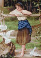 """Вышивка крестом """"Девушка дразнящая голубей"""" (310х460 мм)"""