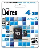 Карта памяти micro SDHC 4Gb Mirex Class 4 (с адаптером)