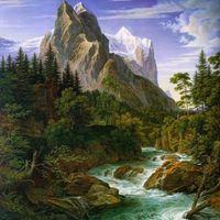"""Алмазная вышивка-мозаика """"Река у подножья горы"""" (500х500 мм)"""