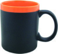 Кружка (320 мл, с покрытием для рисования мелом, цвет: черный, оранжевый)