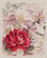 """Вышивка крестом """"Композиция с розой"""" (220x280 мм)"""