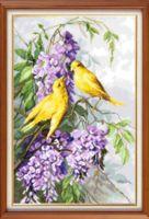 "Вышивка крестом ""Птицы и пурпурные цветы"" (235х360 мм)"