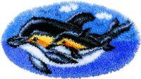 """Вышивка в ковровой технике """"Коврик. Дельфины"""" (680х360 мм)"""