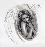 "Вышивка крестом ""Печальный ангел"" (380х360 мм)"
