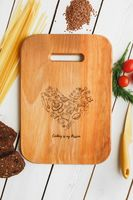 "Доска разделочная деревянная ""Кухня - моя страсть"" (300х210х20 мм)"